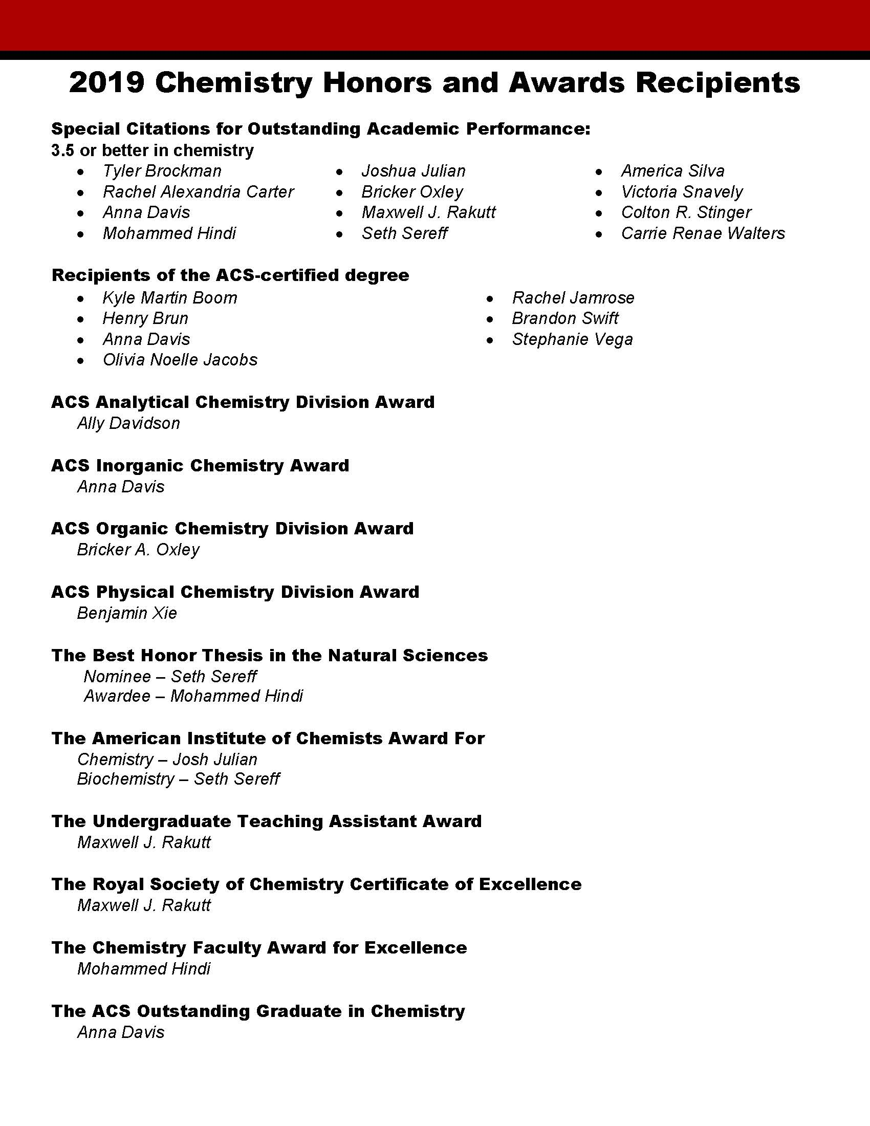 4th Annual Chemistry Honors and Awards Recipients