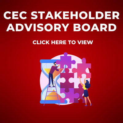 Decal for CEC Stakeholder advisory board that also says click here to view and a cartoon of people helping eachother