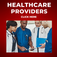 Photo of 3 healthcare providers looking at a clipboard with the text