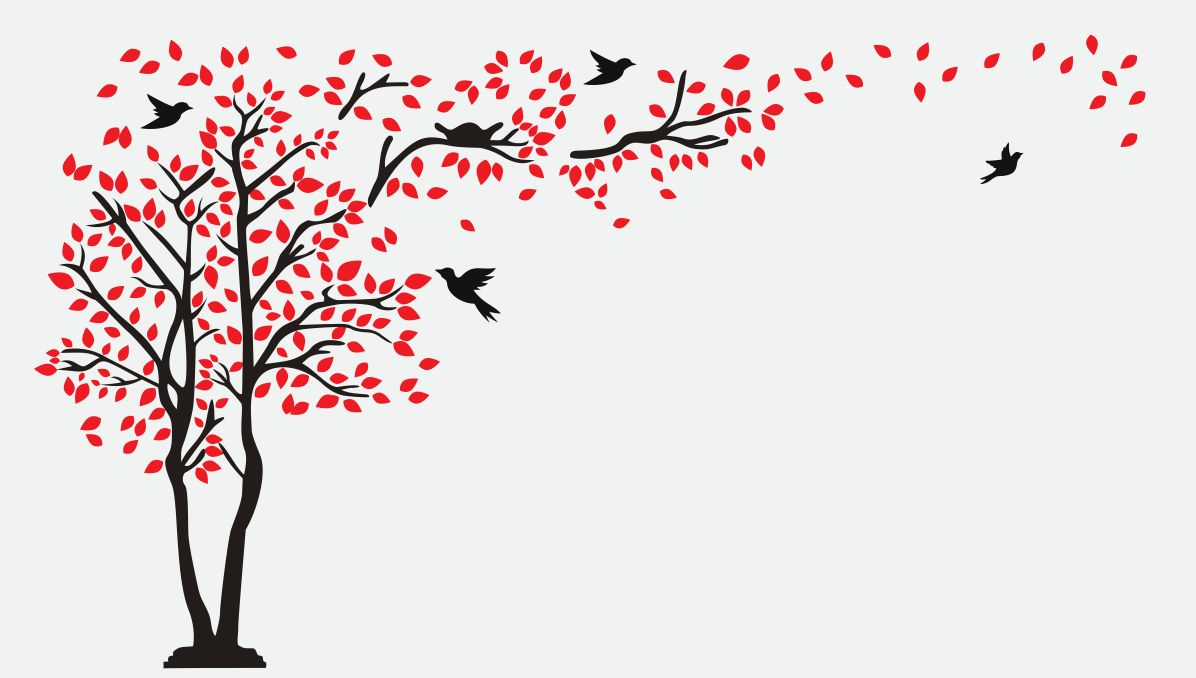 graphic of a tree with birds flying and perched and leaves blowing in the wind.