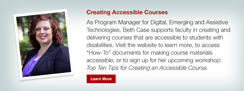 Top Ten Tips for Creating an Accessible Course workshop