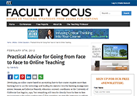 Practical Advice for Going from Face to Face to Online teaching