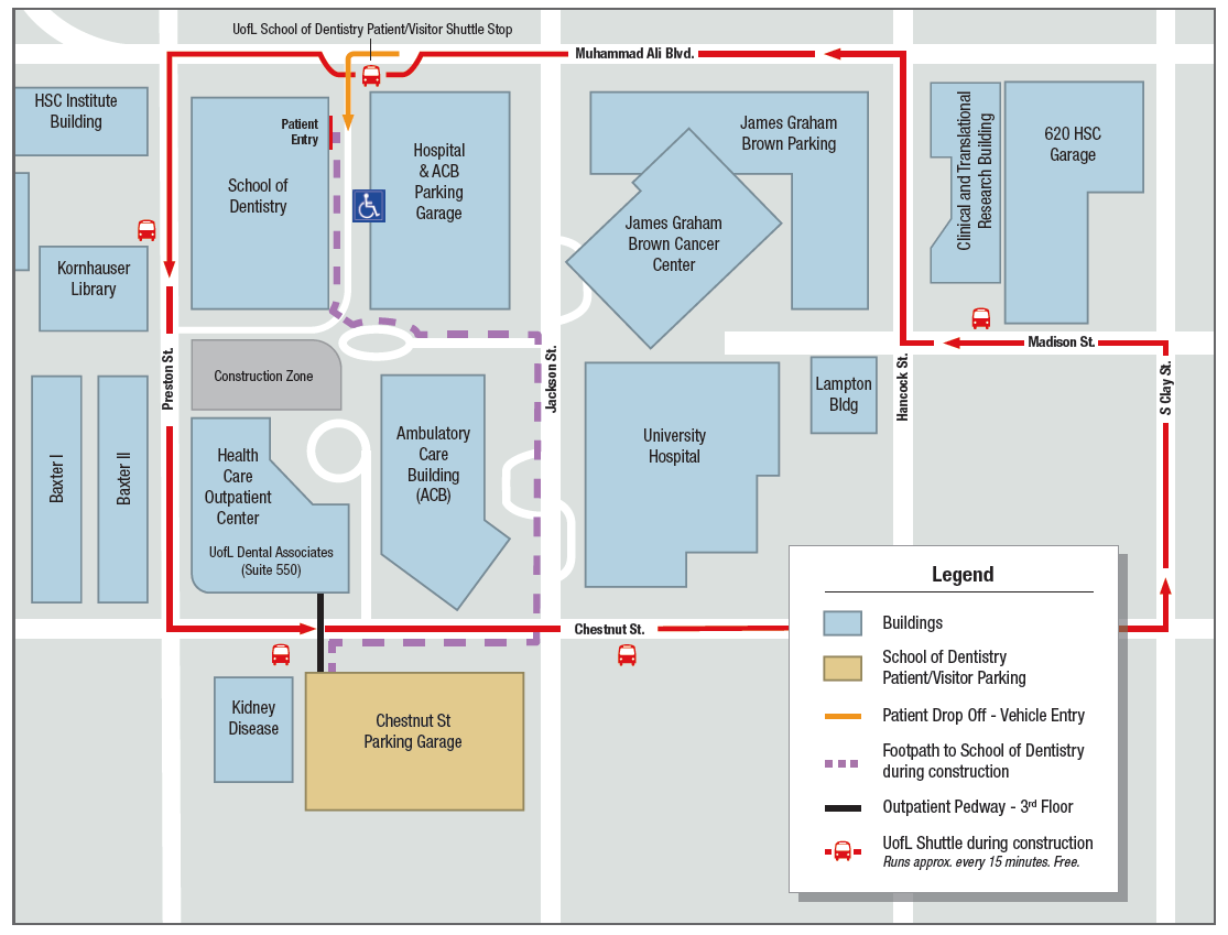 Area map for the School of Dentistry