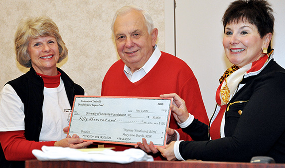 Dental Hygiene Legacy Fund check received by Dean John Sauk