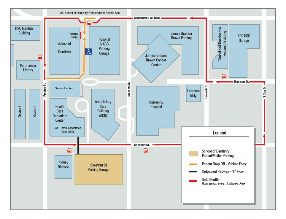Image of the University of Louisville School of Dentistry Map of Patient Access and Drop-off