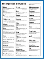 Poster with interpretation services information