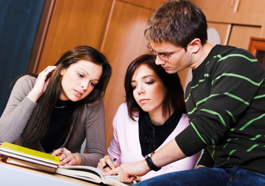 Group of students studying together.