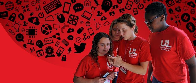 Girls using technology