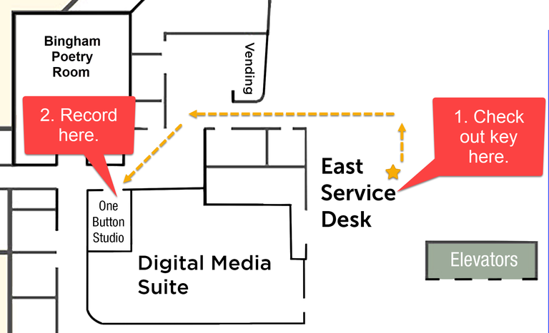 map of Ekstrom first floor highlighting East Service Desk and One Button Studio