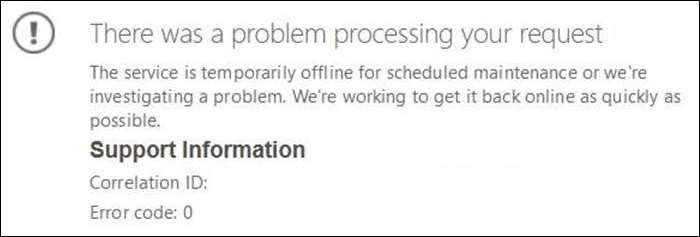 Error message says there was a problem processing your request. The service is temporarily offline for scheduled maintenance or we're investigating a problem. We're working to get it back online as quickly as possible.