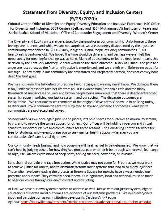 Statement from Diversity, Equity, and Inclusion Centers(9/23/2020)
