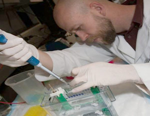 Researcher preparing samples for the flow cytometer.