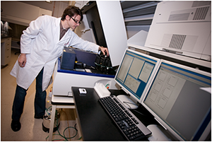 James McCracken, PhD at work in the flow cytometry laboratory