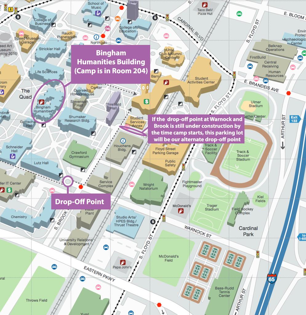 Map of directions to Bingham Humanities Building
