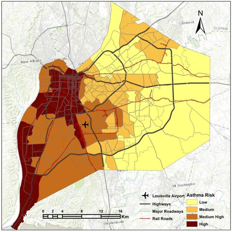 A heat map of Asthma risk in Louisville