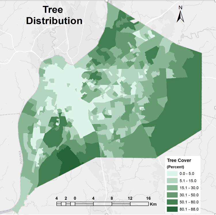 A tree distribution map of Louisville