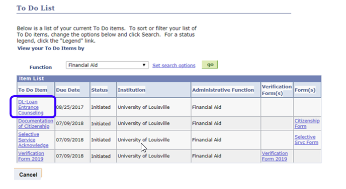 ulink tutorial to do list student financial aid office