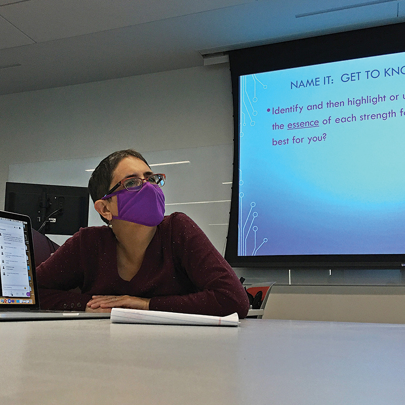 Professor Kimcherie Lloyd lectures during a FYF seminar in fall 2020.