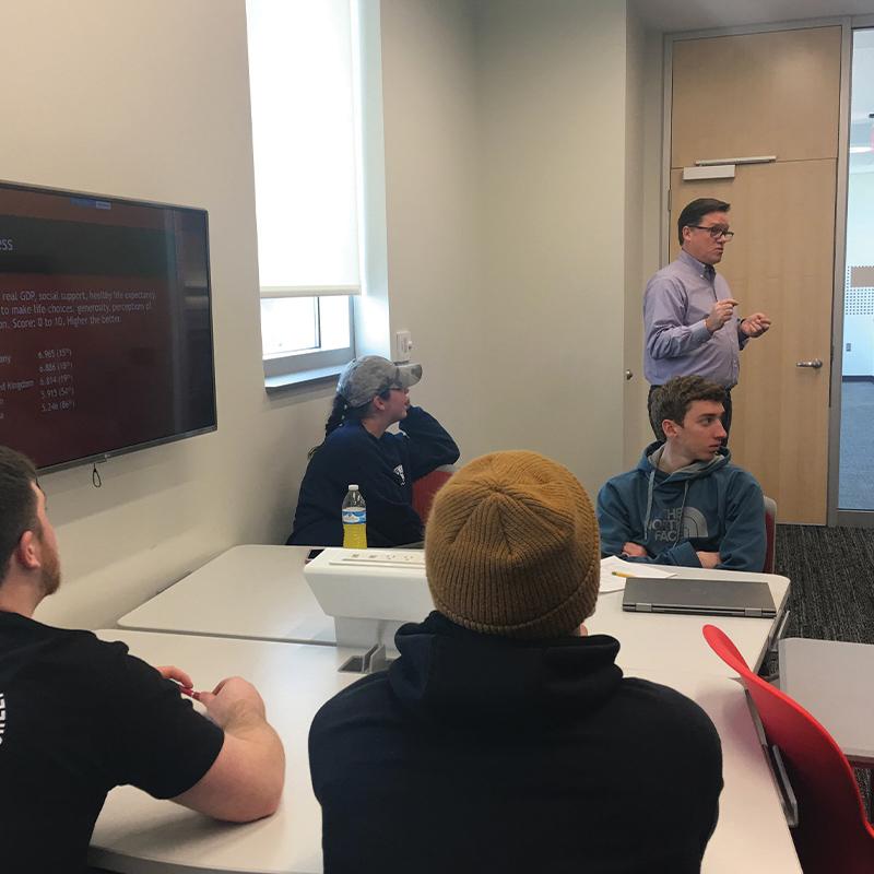 Professor Scott LaJoie lectures during the spring 2019 FYF seminar.