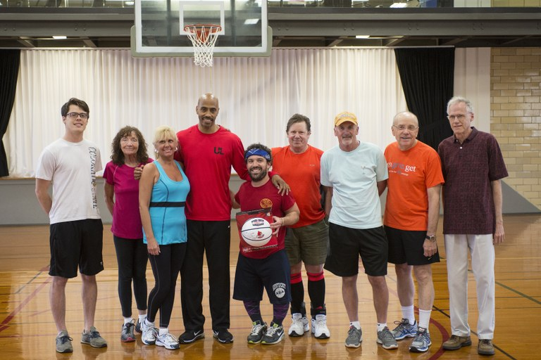 Free Throw contest participants pose with Darrell Griffith