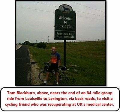 Tom Blackburn on 84 mile bike ride between Louisville and Lexington