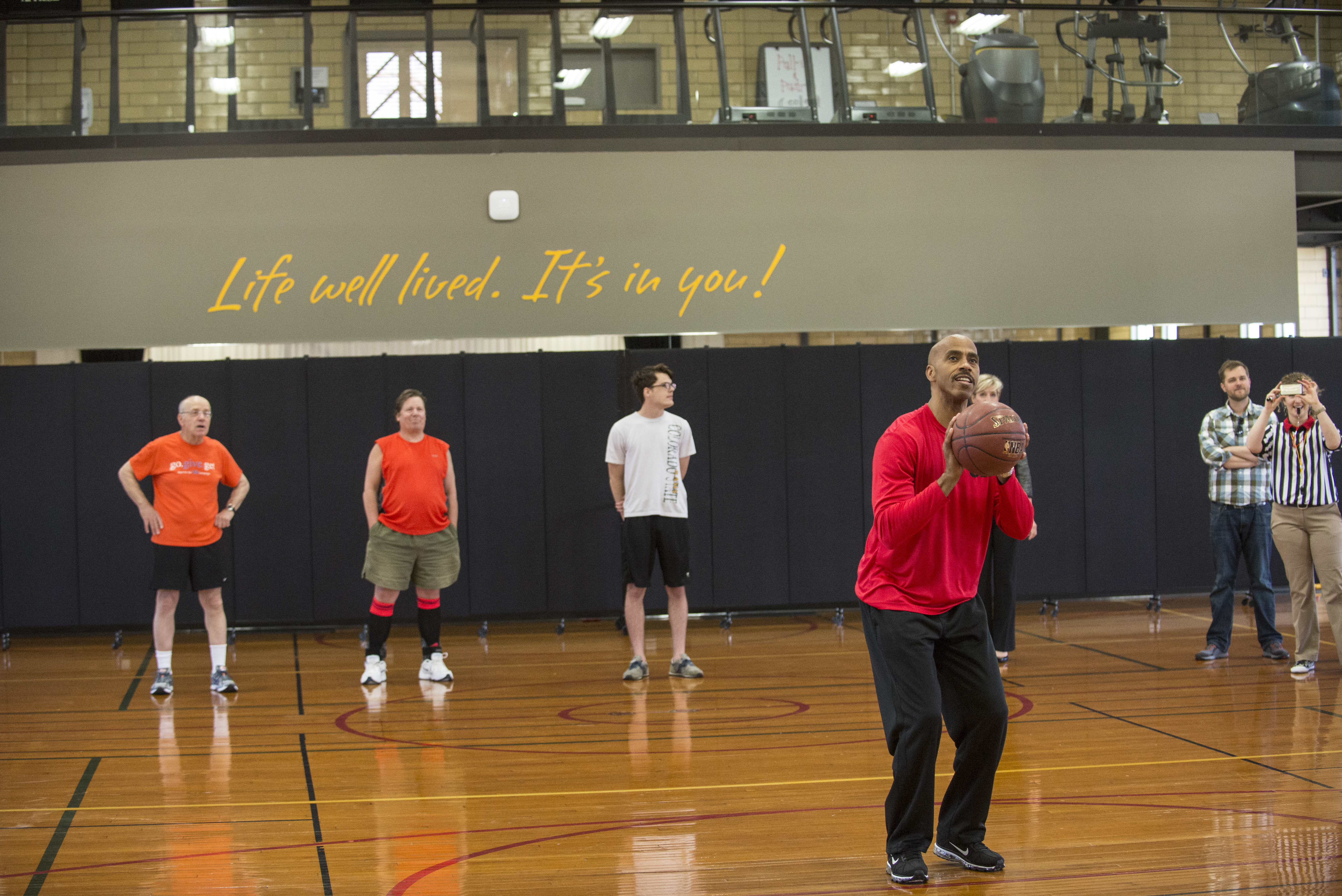 Darrell Griffith shoots basketball Freethrow to Open Courts