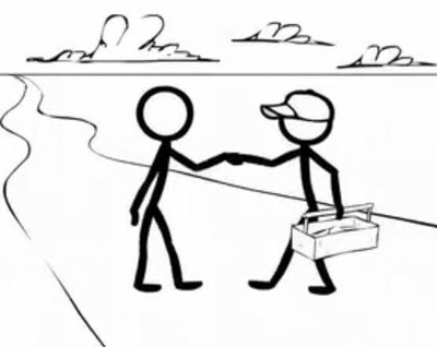 Stick figures shaking hands