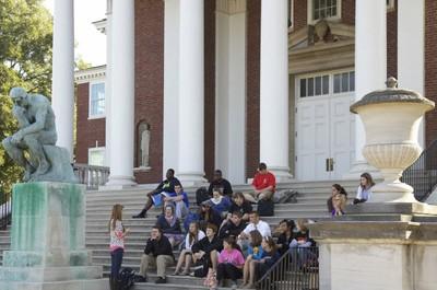 Students sitting on Grawemeyer Hall Steps