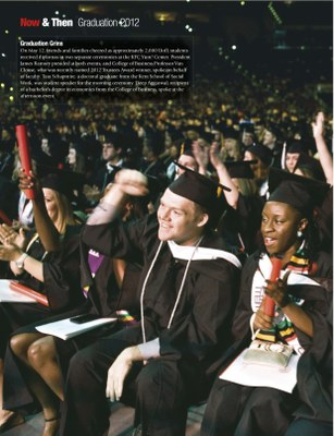 From University of Louisville magazine - inside cover spread of BETH student at graduation.