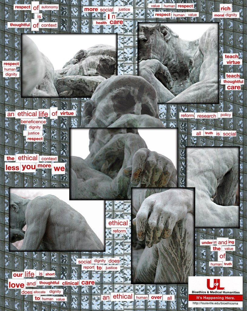 Collage of magnetic poetry and images of unrestored Thinker against a glass block background