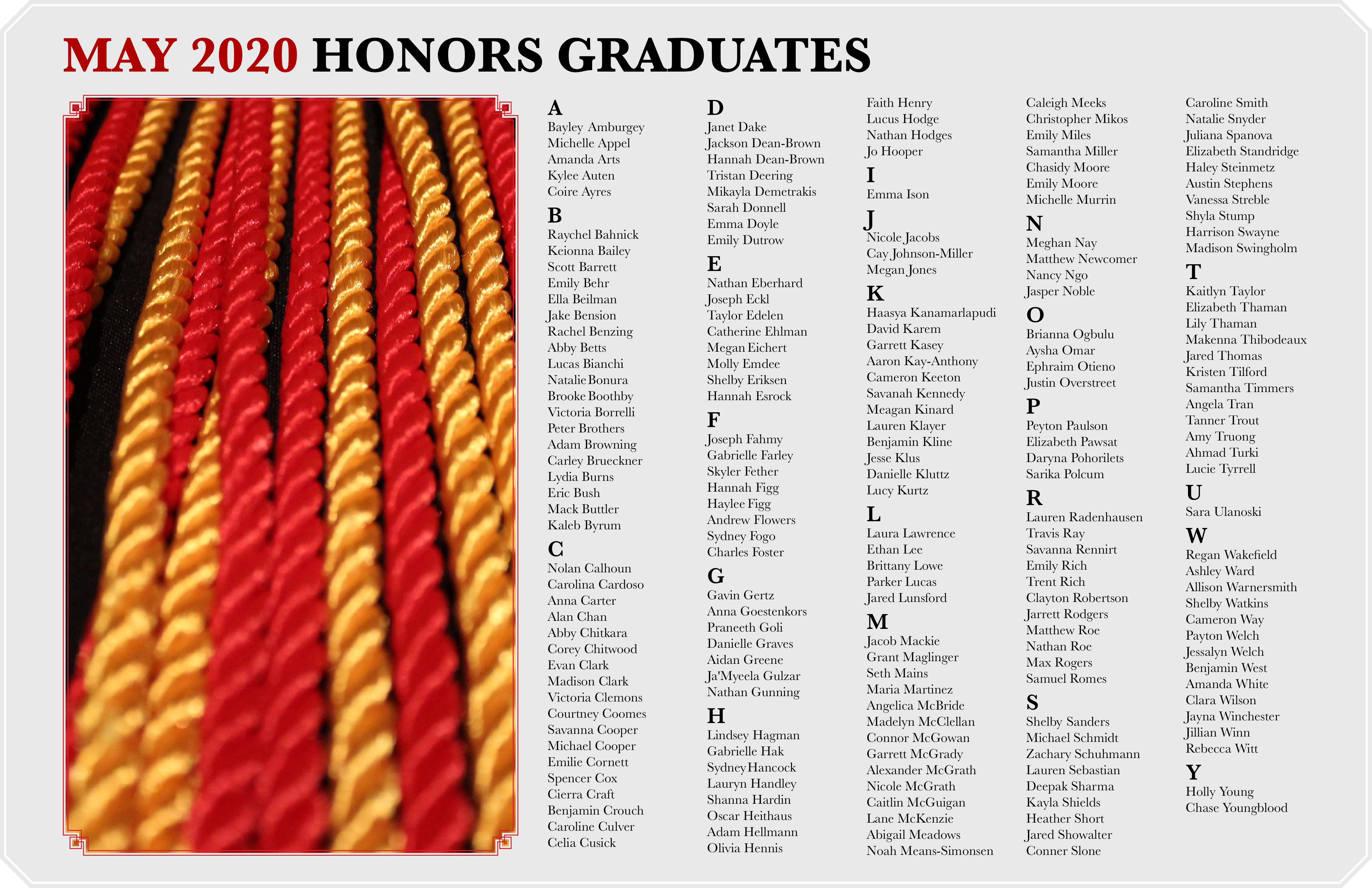 An image of Honors cords next to a list of Honors graduates.