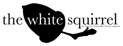 Logo of The white squirrel with a black acorn behind