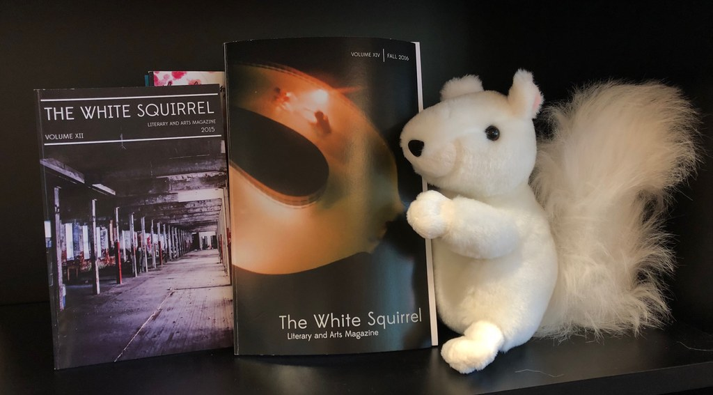 An image of two published editions of The White Squirrel Literary and Arts magazine on a shelf. A stuffed white squirrel toy sits to the right of the books.