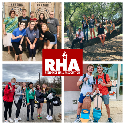 residence hall association. residents having fun outdoors and at an axe-throwing event.