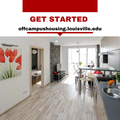 photo of a kitchen with sink and living room with sofa. Painting on wall. Get started at offcampushousing.louisville.edu