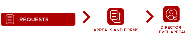 In the Housing Portal, select Requests, Appeals and Forms, and Director Level Appeal Request