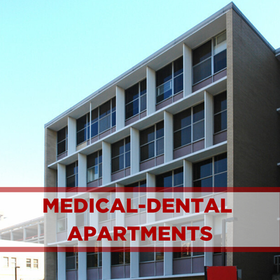 exterior of medical-dental apartments. concrete with windows