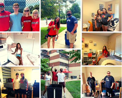 photos of new students and their families smiling on move-in day