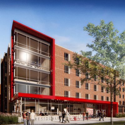new residence hall image. brick exterior with red trim