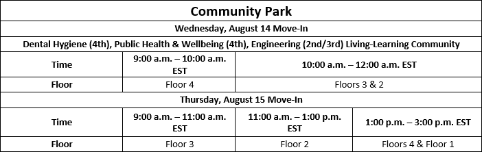 Move In Dates and Times: Commnunity Park
