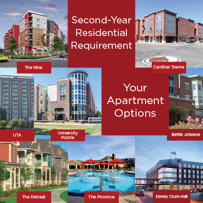 second-year apartment options include cardinal towne, university pointe, bettie johnson, university tower apartments, and other affiliate options