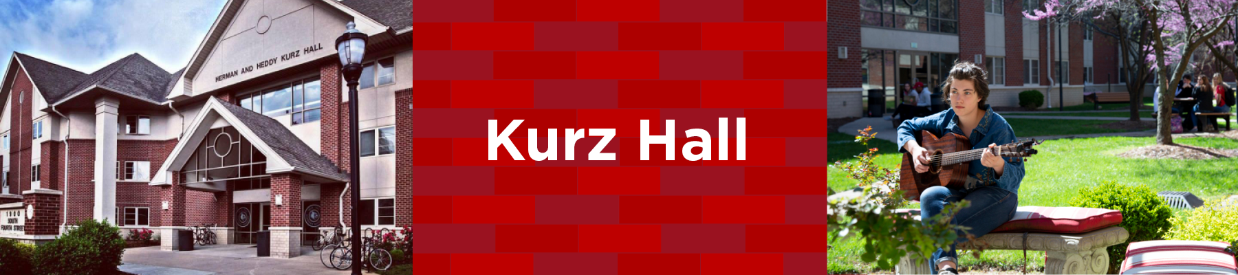 student in interior courtyard of kurz hall. Exterior of kurz hall is brick