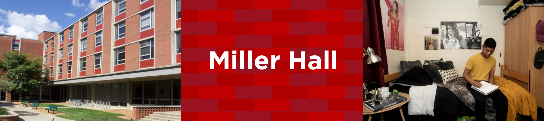 exterior of miller hall is brick with courtyard in front. Student in miller hall room on bed with wardobe on side