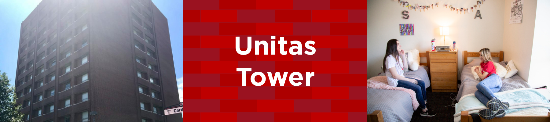 exterior of unitas tower and students on bed in unitas double room