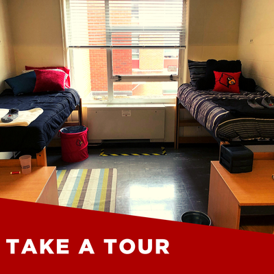 double room in miller hall. two twin beds on left and right side of room