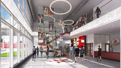 interior lobby of new hall. Stairs inside.