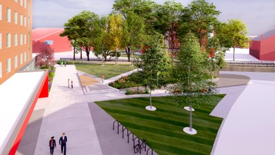 sidewalk and green space in front of the hall entrance