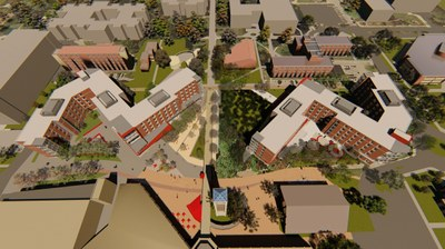 map of two new halls on each side of student activities center ramp