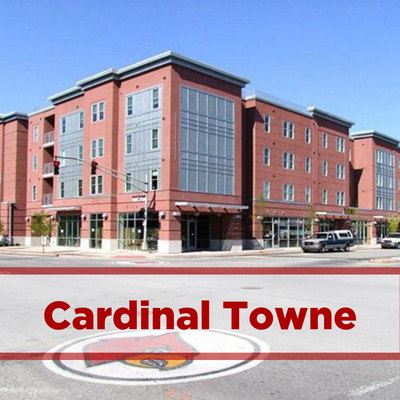 exterior of Cardinal Towne. brick on the corner of cardinal boulevard. restaurants below