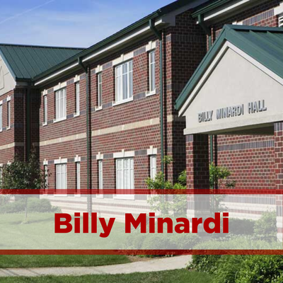 exterior of billy minardi. two stories and brick with main entrance in front